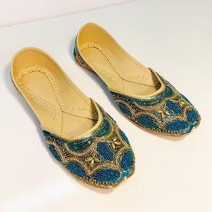 Indian Beaded Sequin Juties Jutti Shoes Blue Gold